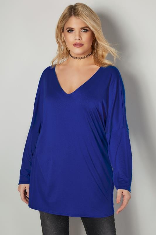 LIMITED COLLECTION Cobalt Blue Oversized Top With Cross Over Back