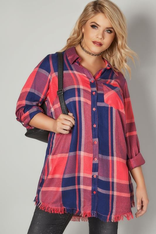 LIMITED COLLECTION Coral Checked Shirt With Frayed Hem & Roll Up Sleeves