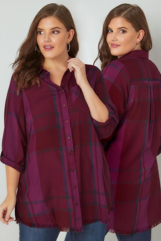 Plus Size Shirts LIMITED COLLECTION Dark Purple Checked Shirt With Frayed Hem & Roll Up Sleeves