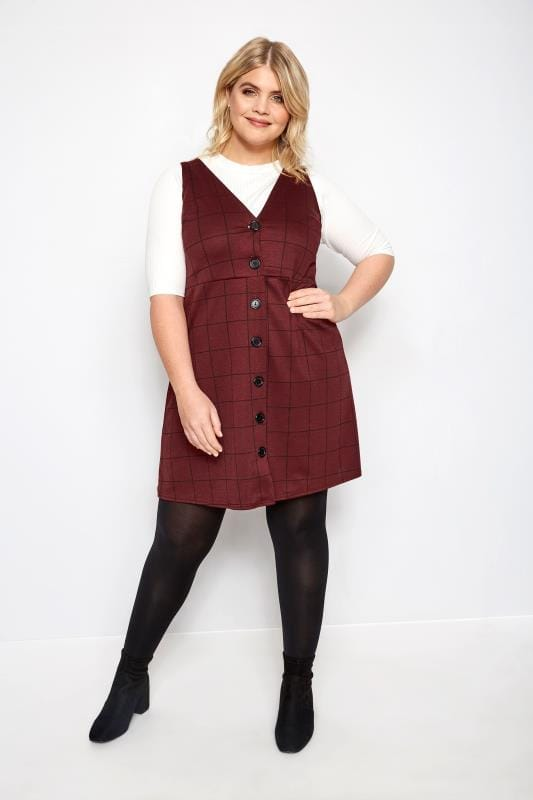 LIMITED COLLECTION Dark Red Check Buttoned Pinafore Dress