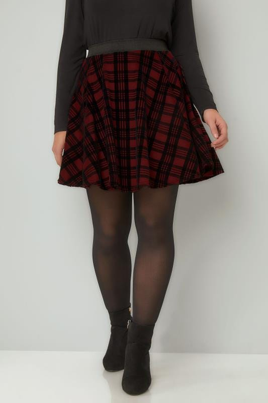 Plus Size Skater Skirts LIMITED COLLECTION Dark Red Checked Mini Skater Skirt