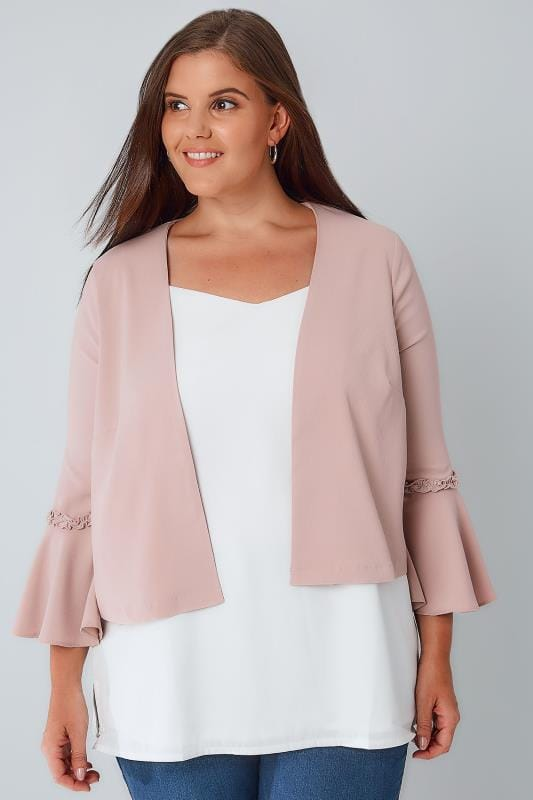 Jackets LIMITED COLLECTION Dusky Pink Crop Jacket With Flute Sleeves 210033