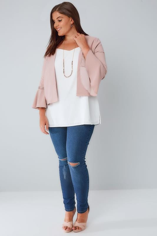 LIMITED COLLECTION Dusky Pink Crop Jacket With Flute Sleeves