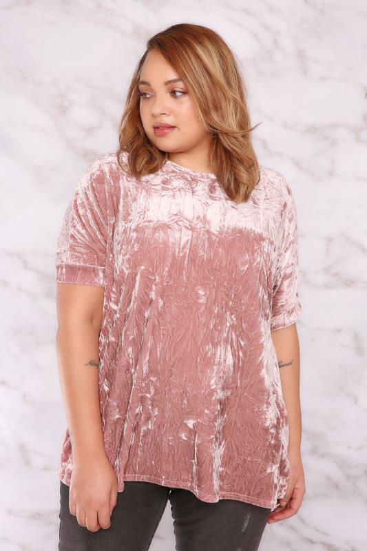 LIMITED COLLECTION Dusty Pink Crushed Velvet Boyfriend Top