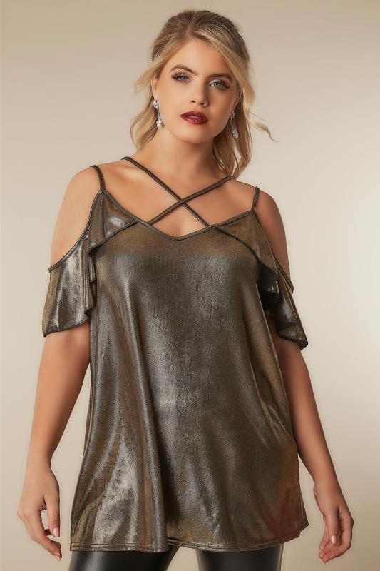 LIMITED COLLECTION Gold Metallic Cold Shoulder Top With Cross Over Straps
