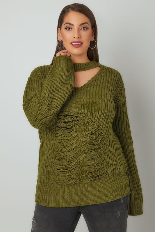 Plus Size Jumpers LIMITED COLLECTION Green Chunky Knitted Distressed Jumper With Choker Neck