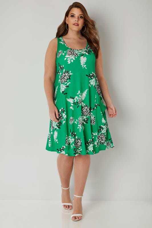 Green Floral Drape Pocket Dress Plus Size 16 To 36