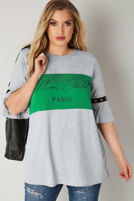 Plus Size Day Tops LIMITED COLLECTION Green & Grey 'Paris' Top With Flute Sleeves