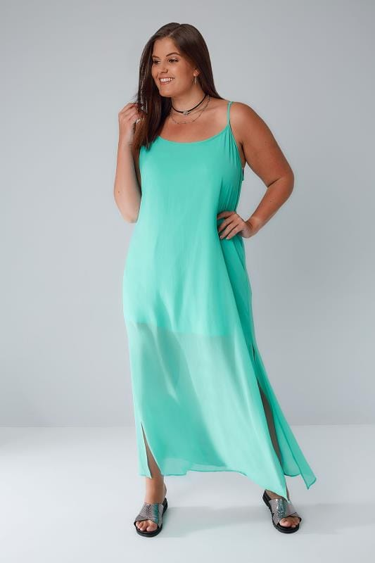 LIMITED COLLECTION Green Strappy Maxi Dress With Side Slits