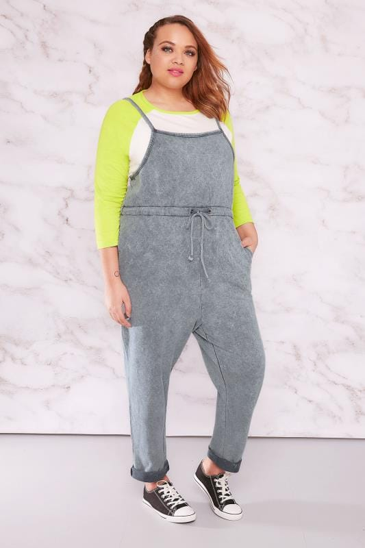 Jumpsuits LIMITED COLLECTION Grey Acid Wash Jumpsuit 210074