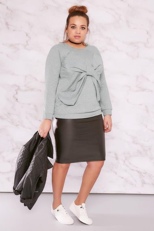 LIMITED COLLECTION Grey Bow Front Sweat Top