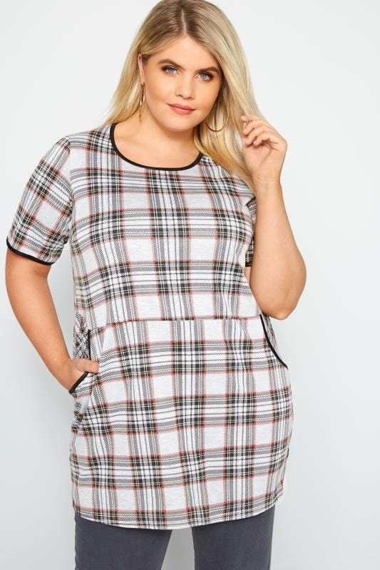 Plus Size Tunics LIMITED COLLECTION Grey Check Tunic Top