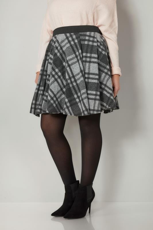 Plus Size Skater Skirts LIMITED COLLECTION Grey Checked Skater Skirt