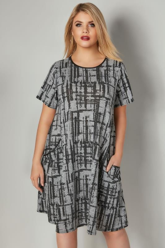 LIMITED COLLECTION Grey Checked Swing Dress With Front Pockets & PU Neckline