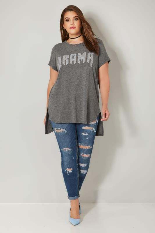 LIMITED COLLECTION Grey Embellished 'Drama' Top