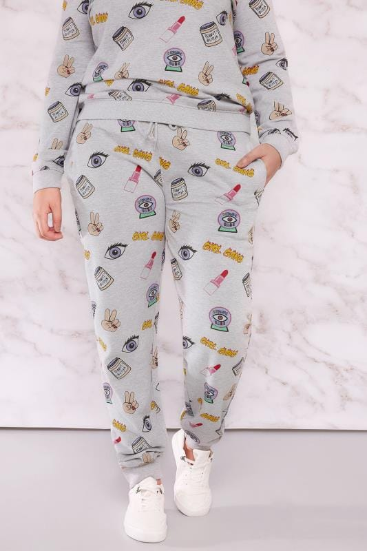 "Joggers LIMITED COLLECTION Grey & Multi ""Girl Gang"" Joggers 210055"
