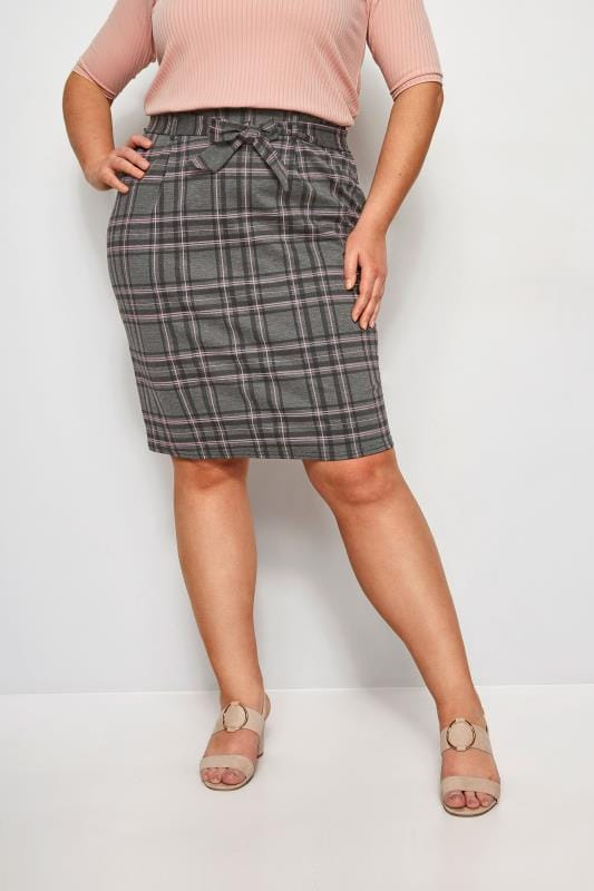 Plus Size Elasticated Waist Skirts LIMITED COLLECTION Grey & Pink Check Skirt