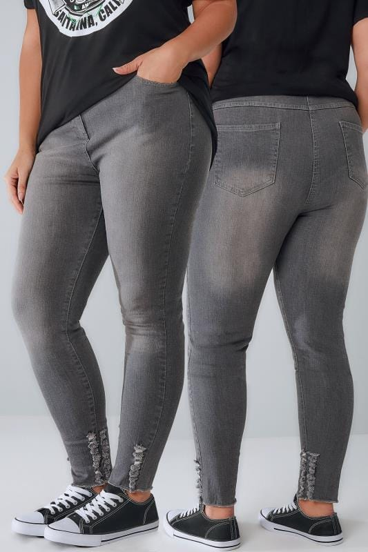 LIMITED COLLECTION Grey Skinny Jeans With Frayed Detail & Raw Cuffs