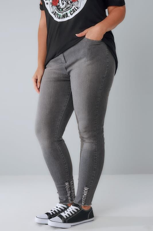 Plus Size Skinny Jeans LIMITED COLLECTION Grey Skinny Jeans With Frayed Detail & Raw Cuffs