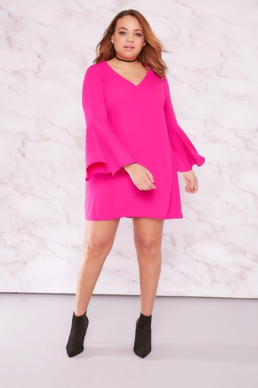 LIMITED COLLECTION Hot Pink Tunic Dress With Trumpet Sleeves