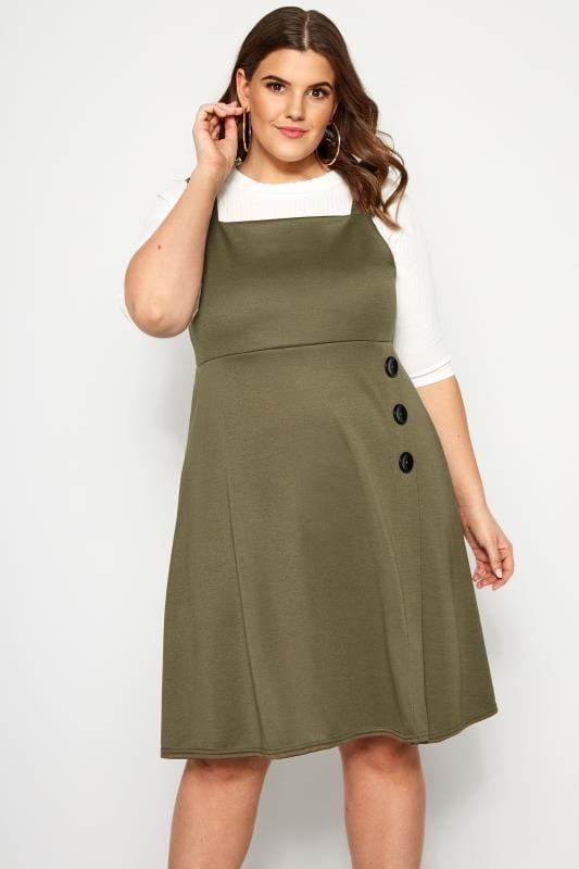 Plus Size Pinafore Dresses LIMITED COLLECTION Khaki Button Pinafore Dress