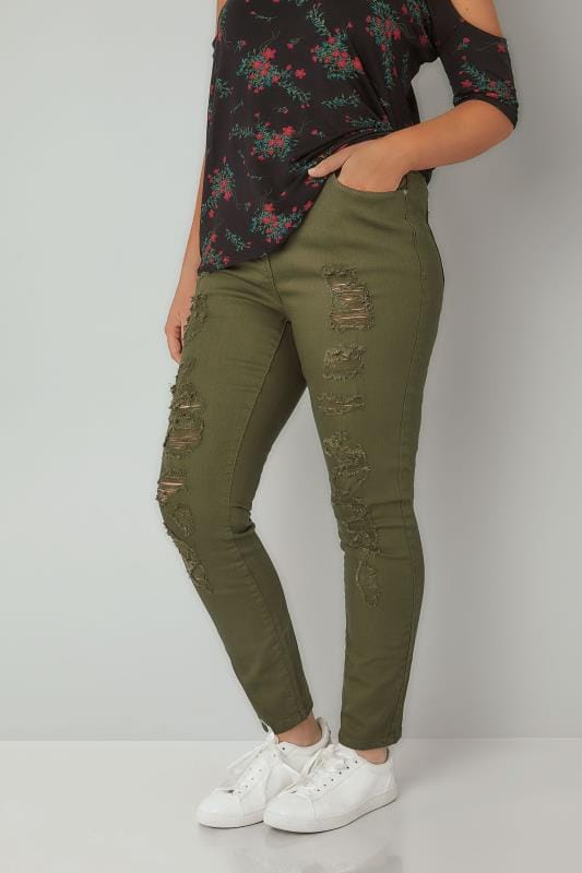 Plus Size Skinny Jeans LIMITED COLLECTION Khaki Distressed Skinny Jeans