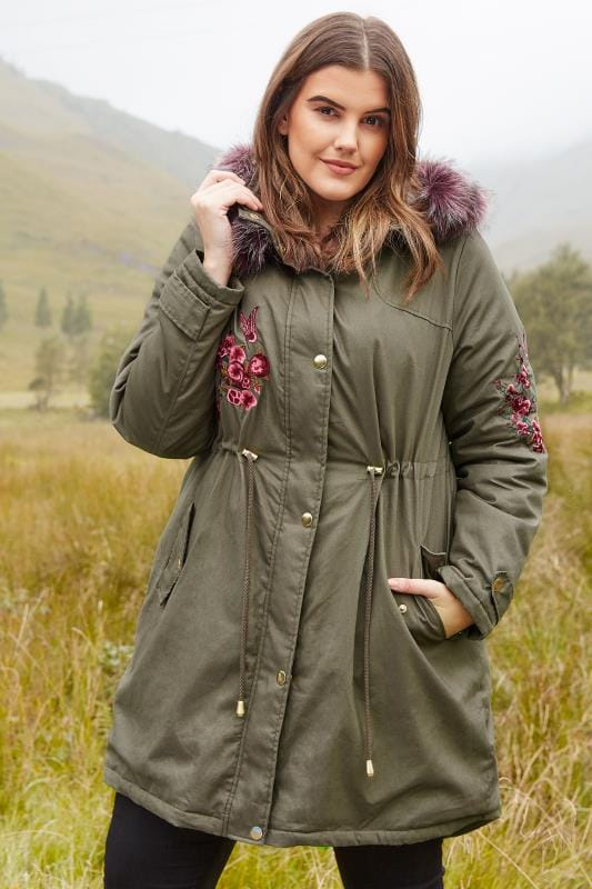 Plus Size Coats LIMITED COLLECTION Khaki Green Embroidered Parka