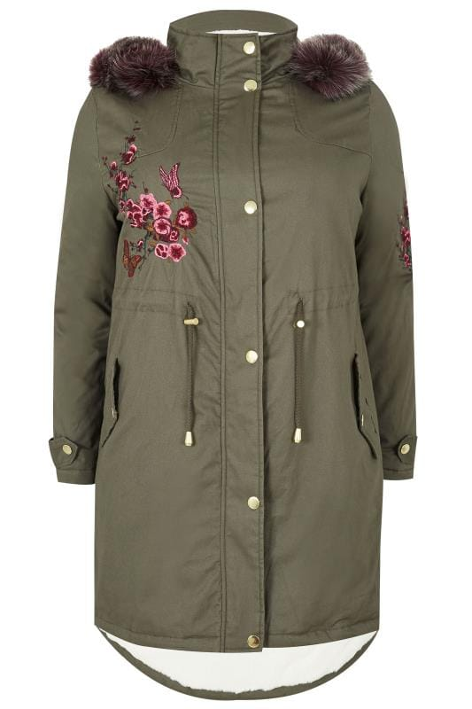 Großen Größen Mäntel LIMITED COLLECTION Khaki Green Embroidered Parka