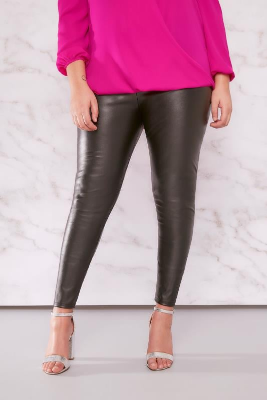 Großen Größen Mode-Leggings LIMITED COLLECTION Schwarz Ledereffekt PU Leggings