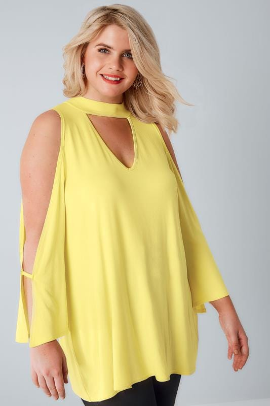 Plus Size Jersey Tops LIMITED COLLECTION Lemon Yellow Choker Neck Open Arm Top