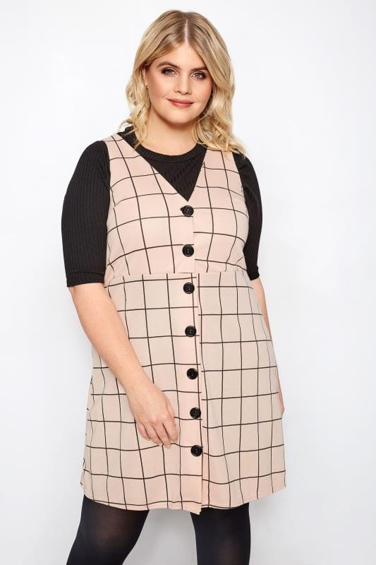 LIMITED COLLECTION Light Pink Check Buttoned Pinafore Dress