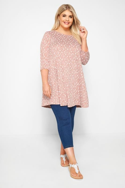 LIMITED COLLECTION Light Pink Ditsy Floral Tunic Top