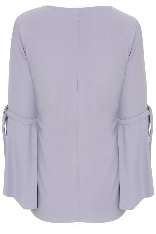 LIMITED COLLECTION Lilac Top With Tie Flute Sleeves