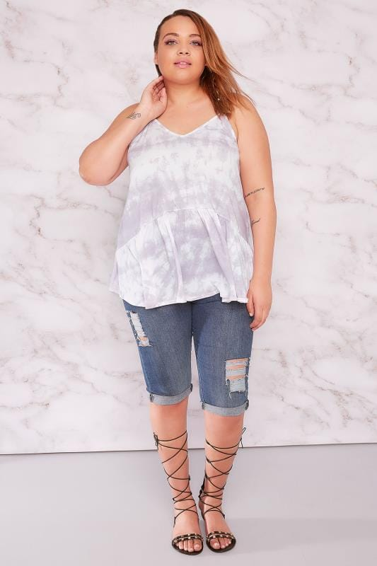 LIMITED COLLECTION Lilac & White Tie Dye Top With Frill Hem