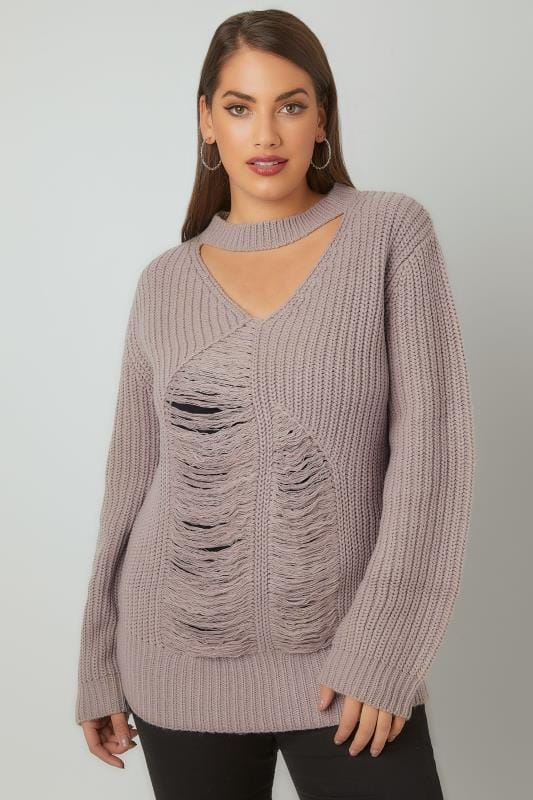Plus Size Jumpers LIMITED COLLECTION Dove Grey Chunky Knitted Distressed Jumper With Choker Neck