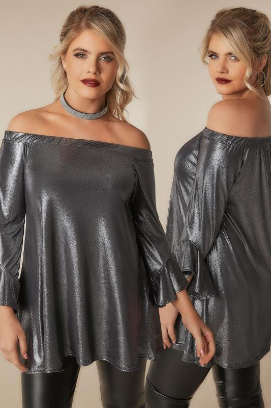 Plus Size Party Tops LIMITED COLLECTION Metallic Silver Bardot Top With Flute Sleeves