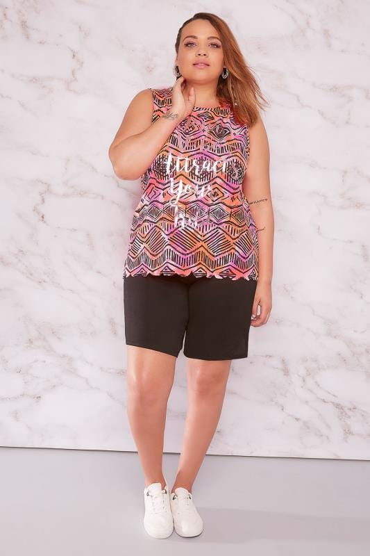 "LIMITED COLLECTION Multi Aztec Print ""Your Vibe Attracts Your Tribe"" Sleeveless Top"