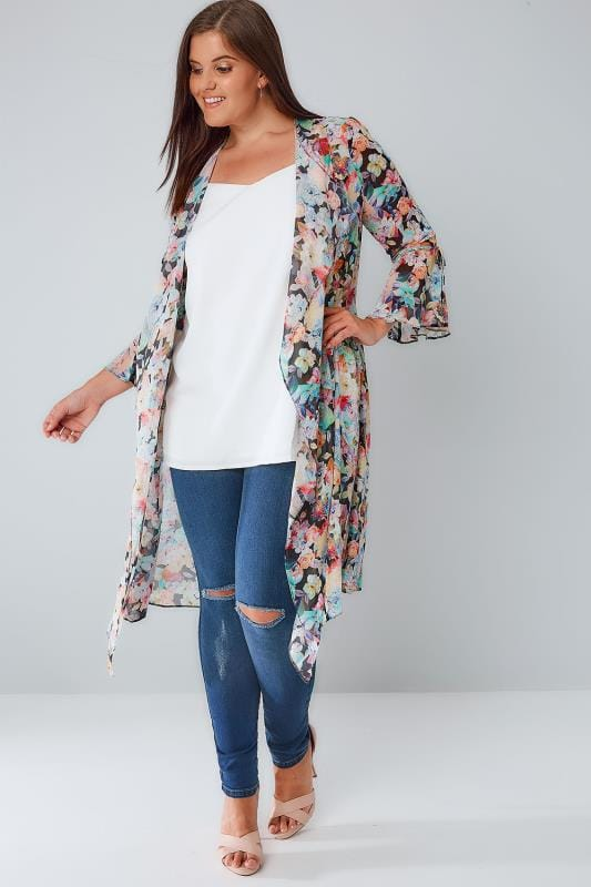 LIMITED COLLECTION Multi Floral Chiffon Duster Jacket With Flute Sleeves