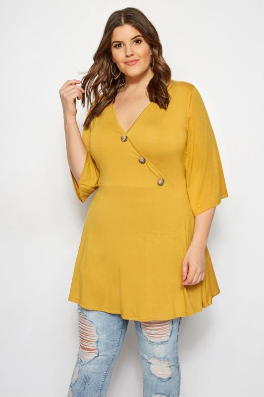 Plus Size Jersey Tops LIMITED COLLECTION Mustard Button Wrap Top
