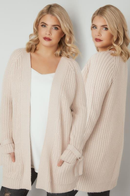 Plus Size Cardigans LIMITED COLLECTION Natural Chunky Knit Bow Sleeve Cardigan