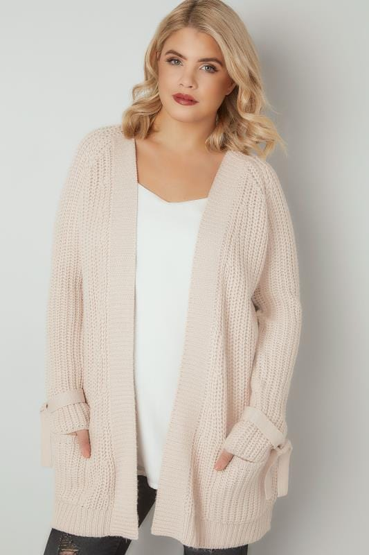 LIMITED COLLECTION Natural Chunky Knit Cardigan With Tie Sleeves