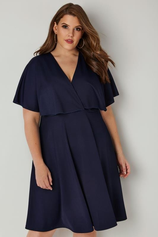 LIMITED COLLECTION Navy Angel Sleeve Wrap Dress