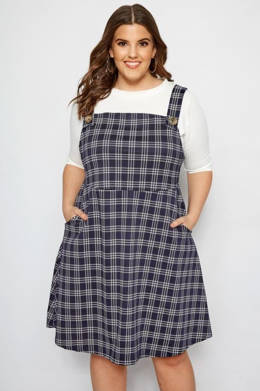 f75f8e8eea Plus Size Pinafore Dresses LIMITED COLLECTION Navy Check Pinafore Dress