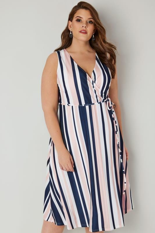Plus Size Skater Dresses LIMITED COLLECTION Navy & Pink Striped Jersey Wrap Dress