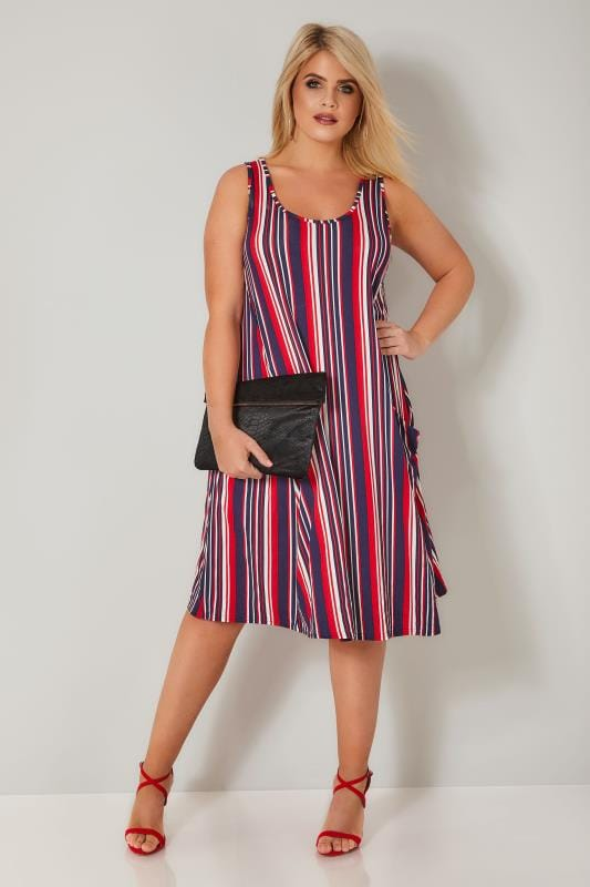 LIMITED COLLECTION Navy, Red & White Stripe Pocket Swing Dress