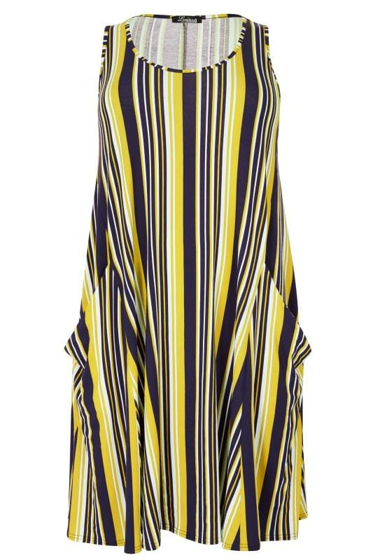 limited collection navy  u0026 yellow striped drape pocket
