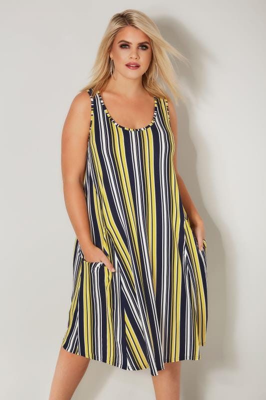 Plus Size Midi Dresses Navy & Yellow Striped Drape Pocket Dress