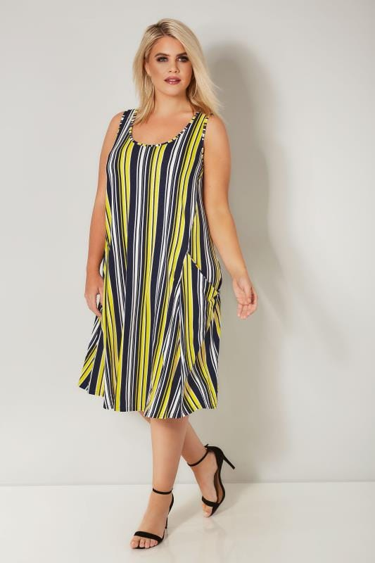 LIMITED COLLECTION Navy & Yellow Striped Drape Pocket Dress