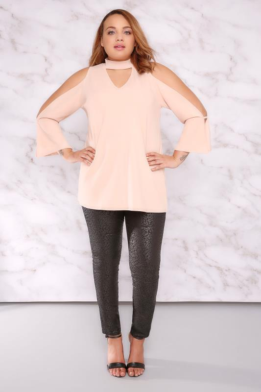 LIMITED COLLECTION Nude Pink Choker Neck Swing Top With Exposed Arms
