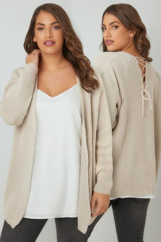 Plus Size Knitted Cardigans LIMITED COLLECTION Oatmeal Knitted Cardigan With Lace-Up Back Detail